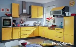 ایده آشپزخانه زرد و سفید