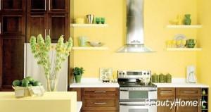 طراحی دیوار آشپزخانه با رنگ زرد