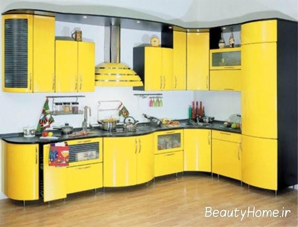چیدمان آشپزخانه با رنگ زرد