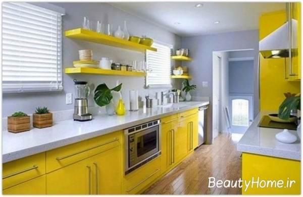 زیباترین آشپزخانه زرد- سفید