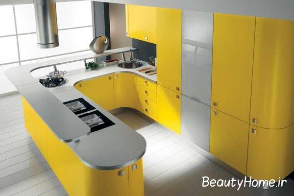 ایده آشپزخانه استیل و زرد