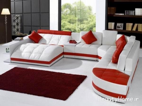 مبل سفید و قرمز