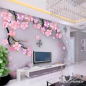 کاغذ دیواری گل دار و سه بعدی