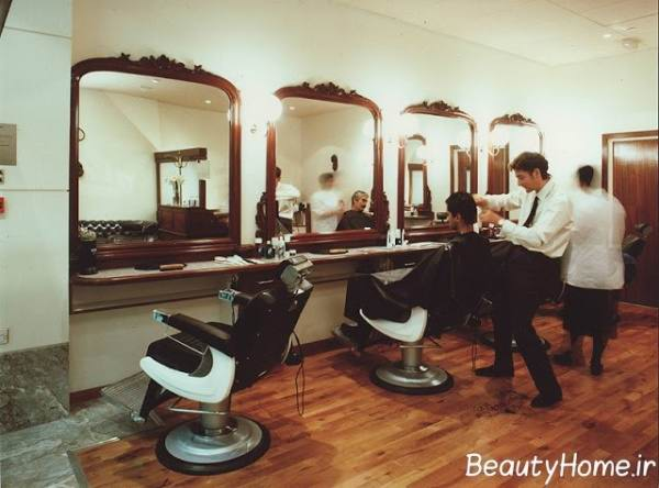دکوراسیون چوبی آرایشگاه مردانه