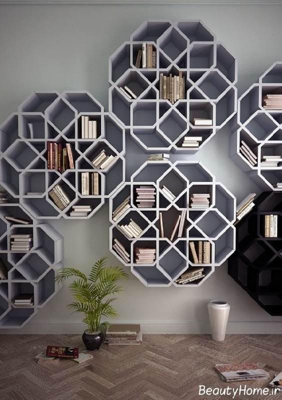 طراحی قفسه کتاب با اشکال نامنظم
