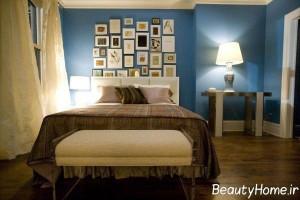 اتاق خواب آبی خاکستری