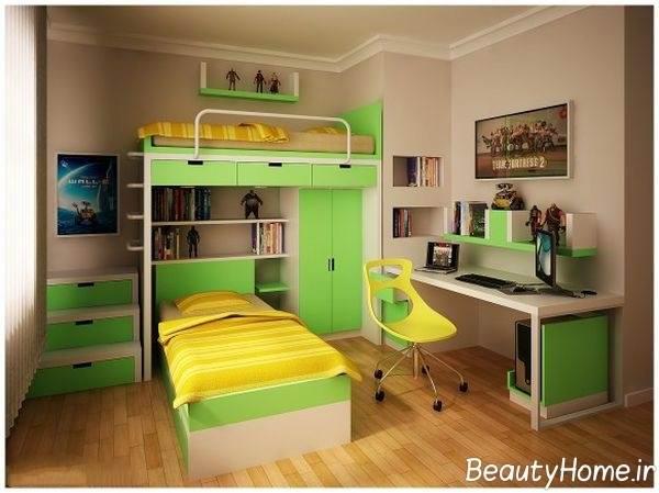 رنگ سبز در دکوراسیون اتاق پسران
