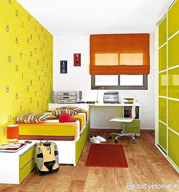 رنگ زرد در دکوراسیون اتاق پسران