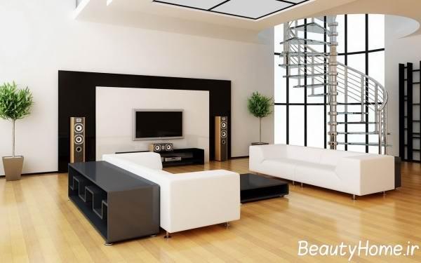 میز تلویزیون سفید و مشکی