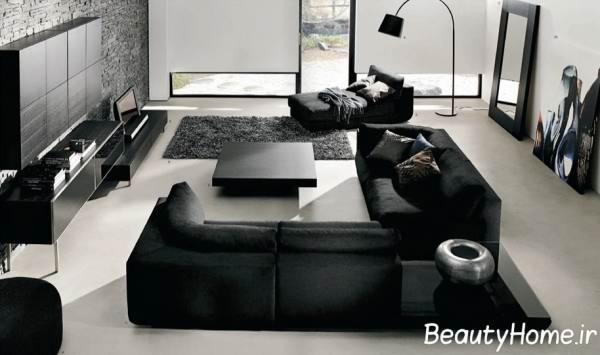 مبلمان مشکی در پذیرایی سفید و سیاه