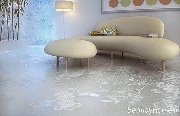 تزیین اتاق پذیرایی با کف پوش سه بعدی