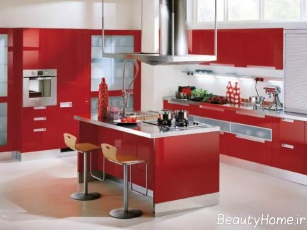 دکوراسیون آشپزخانه شیک و مدرن با استفاده از کابینت های فلزی