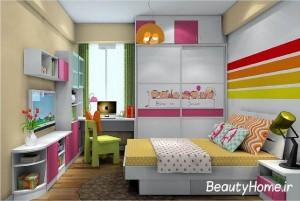 دیزاین زیبا از اتاق خواب بزرگ دخترانه
