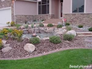 تزیین ساده باغچه با سنگ و گل
