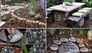 تزیین زیبا باغچه به کمک سنگ و مجسمه های سنگی