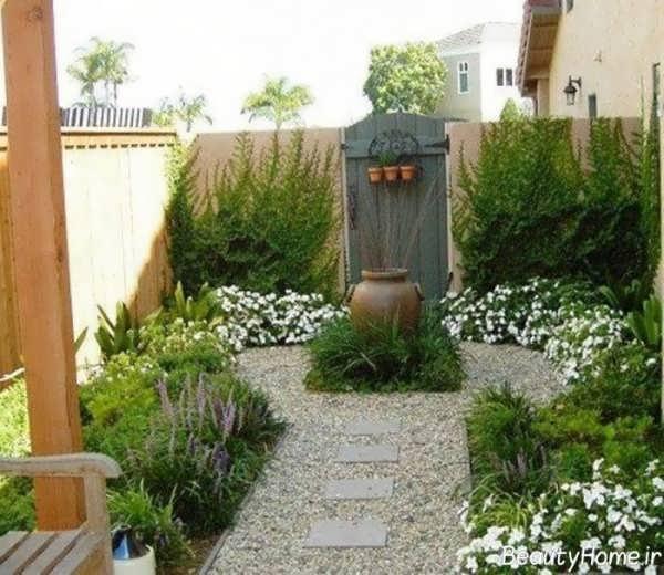 تزیین حیاط با باغچه زیبا
