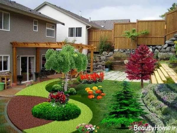 تزیین باغچه با گل های زیبا و درخت