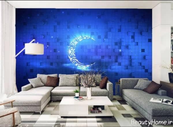 مدل کاغذ دیواری با طرح آسمان و ماه