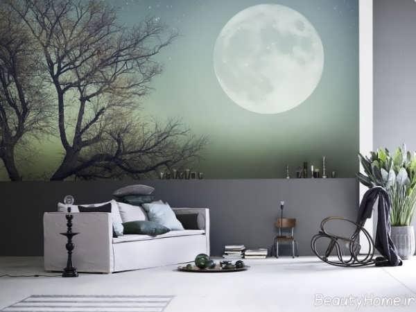 مدل کاغذ دیواری با طرح درخت و ماه
