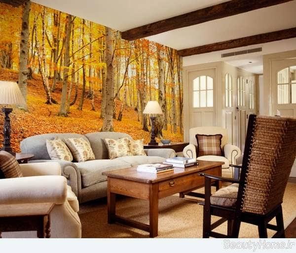 کاغذ دیواری پوستری زیبا با طرح پاییز