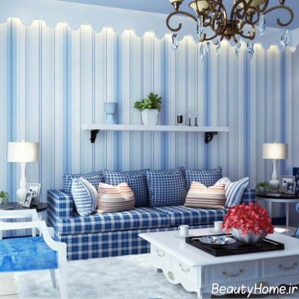اتاق پذیرایی و طراحی آن با رنگ آبی
