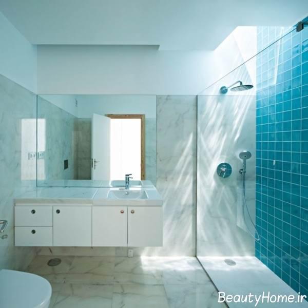 نمونه دکوراسیون سرویس بهداشتی آبی