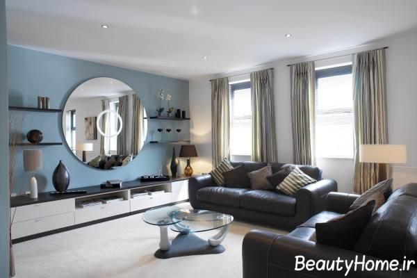 دکوراسیون اتاق پذیرایی مدرن با رنگ آبی