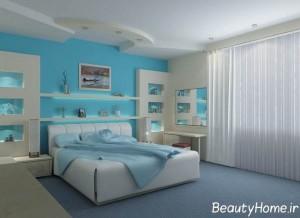 جدیدترین نمونه دکوراسیون اتاق خواب با رنگ آبی