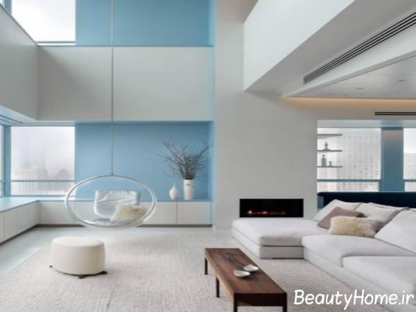 دکوراسیون منازل مدرن با آبی و خاکستری