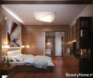 طراحی اتاق خواب لوکس با چیدمانی متفاوت