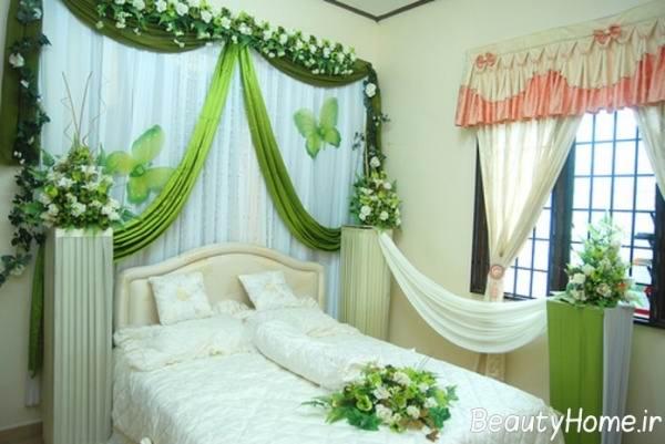 نمونه تزیین شیک اتاق خواب عروس و داماد