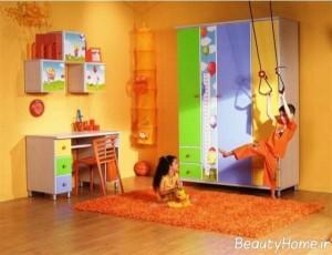 مناسب ترین و زیباترین نمونه های طراحی اتاق خواب کودکانه با رنگ نارنجی