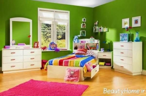 ایده های طراحی اتاق خواب کودکان با رنگ سبز