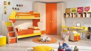 نمونه اتاق خواب کودکان با رنگ نارنجی