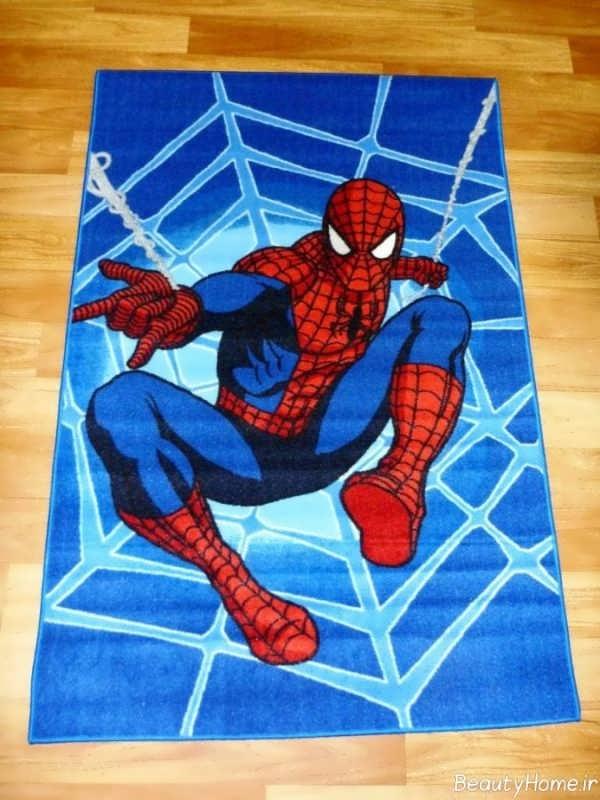 مدل فرش با طرح مرد عنکبوتی