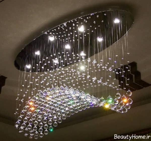 مدل لوستر زیبا با چراغ های رنگانگ