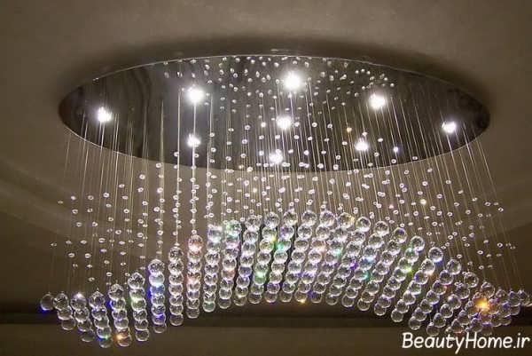 مدل لوستر پذایرایی با چراغ های شیک و رنگارنگ