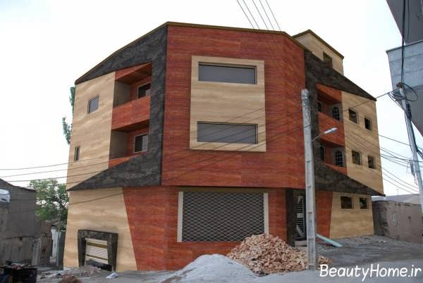 نمای دو رنگ مینرال برای ساختمان