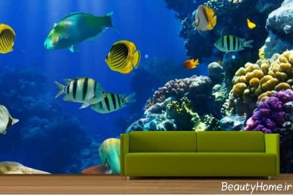 نقاشی های ماهی بر روی دیوار