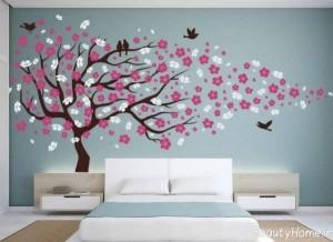 کشیدن نقاشی روی دیوار اتاق خواب با طرح های زیبا و جذاب