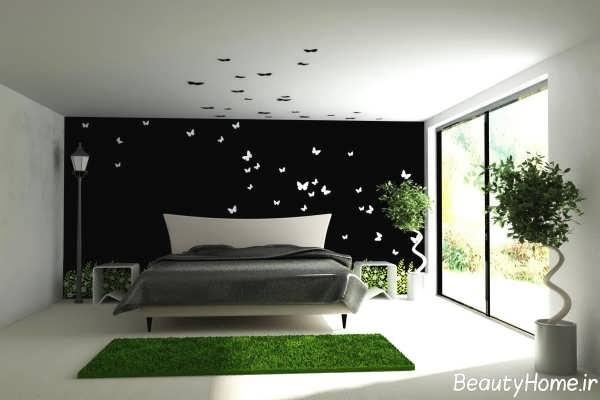نقاشی بر روی دوار اتاق خواب شیک