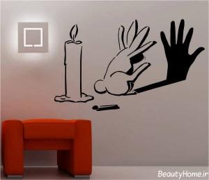 کشیدن نقاشی های متنوع و ساده بر روی دیوار
