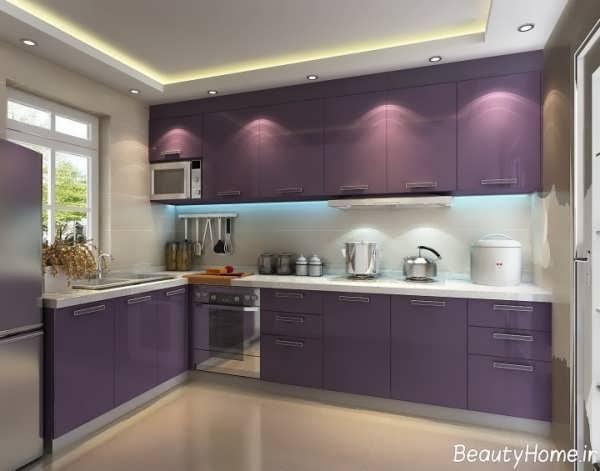 دکوراسیون داخلی آشپزخانه به رنگ بنفش