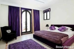 دکوراسیون زیبا و جذاب بنفش برای اتاق خواب