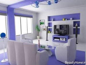 طراحی دکوراسیون داخلی بنفش و سفید