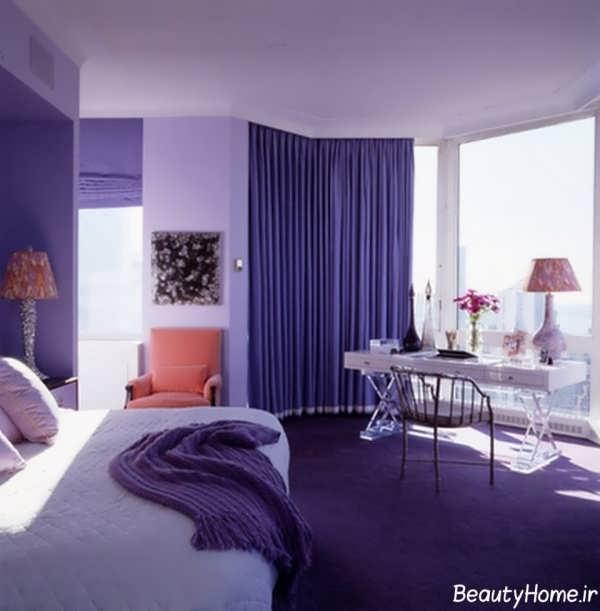 دکوراسیون متفاوت و ایده آل بنفش برای اتاق خواب