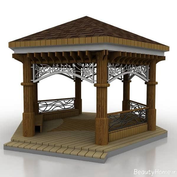 آلاچیق چوبی با طراحی بی نظیر