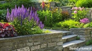 محوطه سازی ویلا با گل و گیاهان رنگارنگ