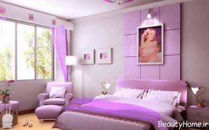 اتاق خواب بنفش با دکوراسیون خاص و متفاوت