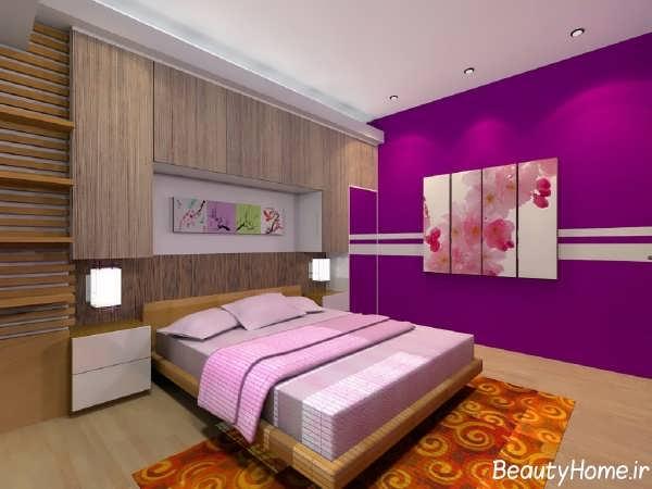 اتاق خواب زیبا با دیوار های بنفش